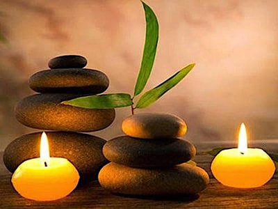 Hot stones and candles used at the Spa for massages